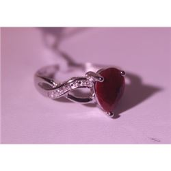 Exquisite Sterling Silver Ring with Pear Cut Pigeon Blood Ruby and Diamonds