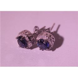 Exquisite Sterling Silver Earrings with Lab Blue Sapphire