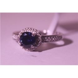 Exquisite Sterling Silver Ring with Sapphire and Diamonds