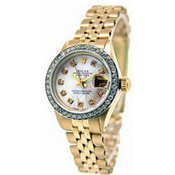 Ladys 18K DateJust DiamondDial Rolex