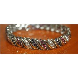 Beautiful Bracelet with Sapphire, Ruby and Tanzanite