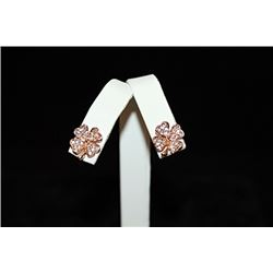 Exquisite 14kt Rose Gold over Silver Clover Stud Earrings (7E)