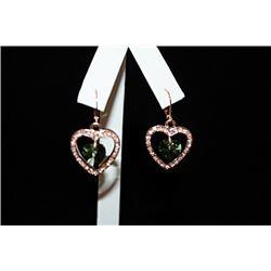 Fine 14kt Rose Gold over Silver Heart & Gemstones Earrings (9E)