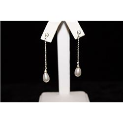 Elegant Pearl Silver Earrings (42E)