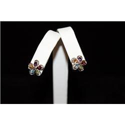 Stunning Flower Mix Gemstones Silver Stud Earrings (70E)