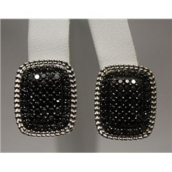 Elegant Black Diamonds Silver Earrings (78E)