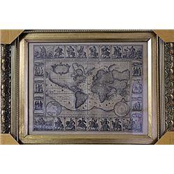 Framed Geographica Map Engraving (28E-EK)