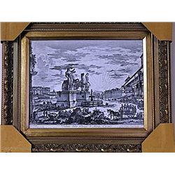 Framed Veduta Della Liazza Di Monte Cavallo Engraving (53E-EK)