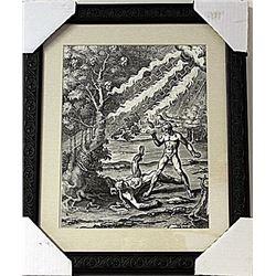Framed Apollo killing the boxer Phorbas Engraving  (76E-EK)