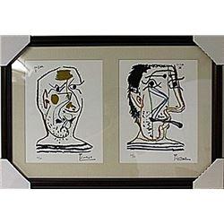 Framed 2-in-1-Picasso Lithographs (107E-EK)