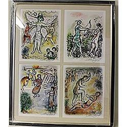 Framed 4-in-1 Marc Chagall Lithographs (185E-EK)