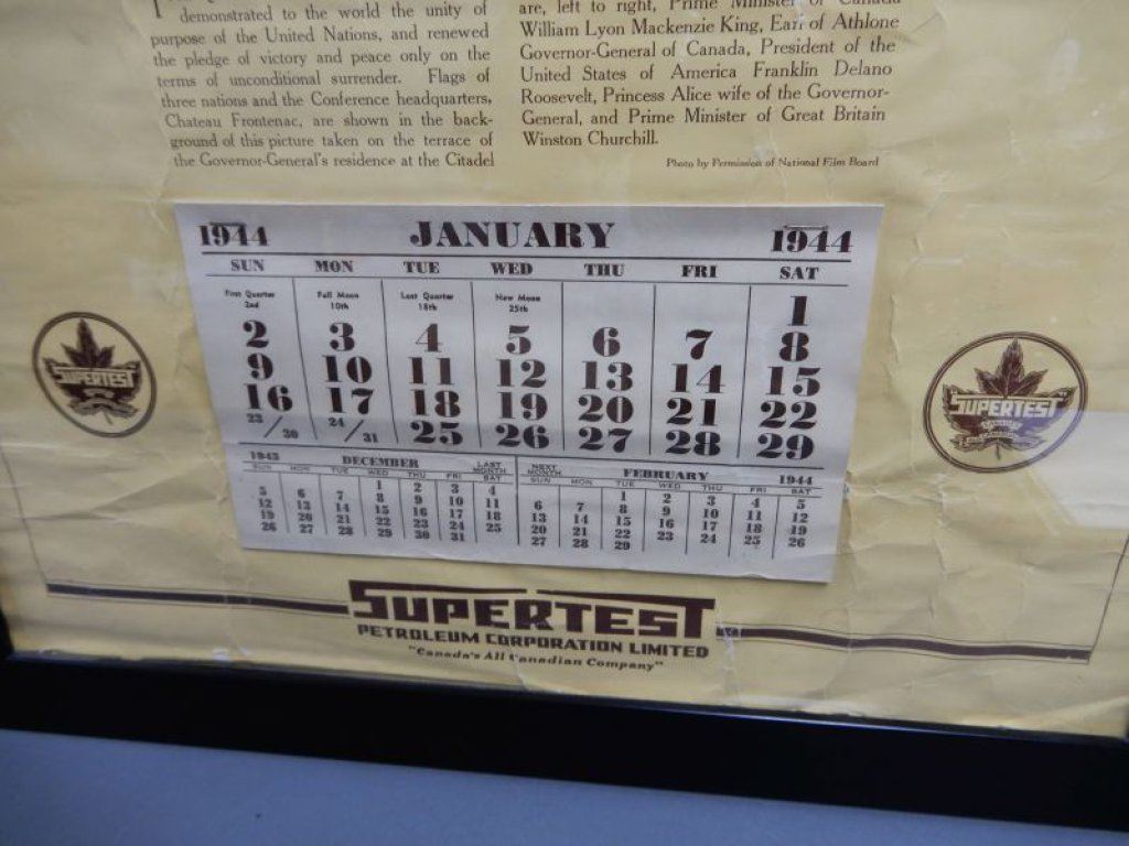 FRAMED 1944 SUPERTEST CALENDAR FAMOUS QUEBEC CONFERENCE - WRINKLING - 26  1/4
