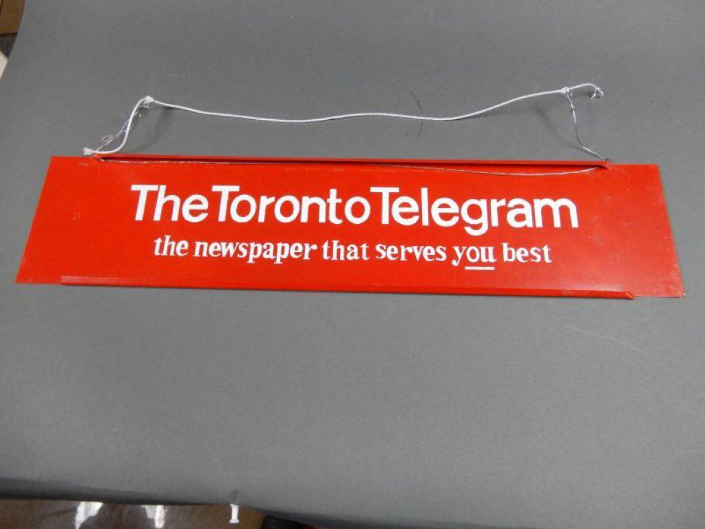 TORONTO TELEGRAM TIN RACK TOPPER SURFACE SCRATCHES LOCATION: LOWER BACKROOM
