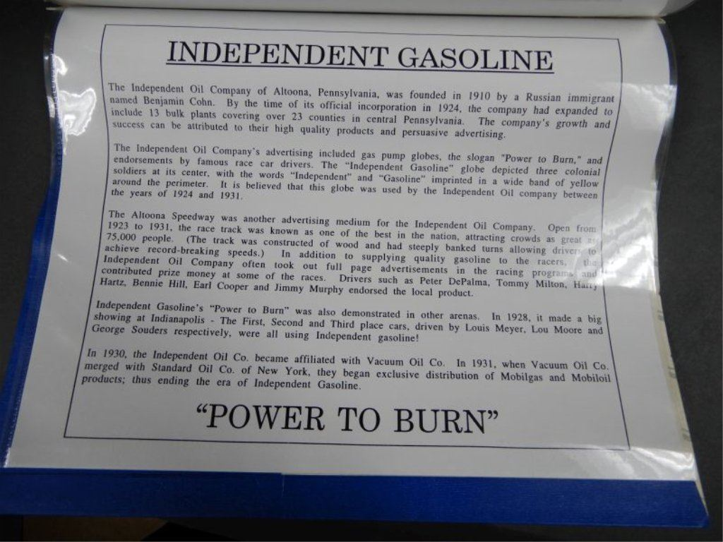 HAYES EQUIPMENT MFG SINGLE VISIBLE 5 GAL GAS PUMP PROFESSIONALLY RESTORED  TO INDEPENDENT GASOLINE -