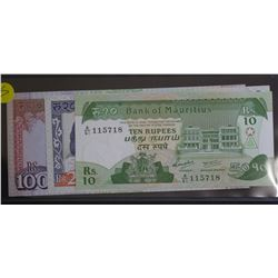 Mauritius 10, 20, 50 Rupees EF Plus