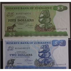 Zimbabwe $2 & $5 EF or Better