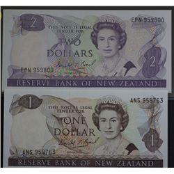 NZ $1 & $2 Notes Unc
