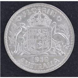 1939 Florin aUnc/Unc, Full lustre