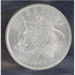 1942 D Sixpence ACGS MS 63