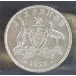 1955 Sixpence ACGS MS 64