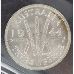 1944S Threepence ACGS MS 65