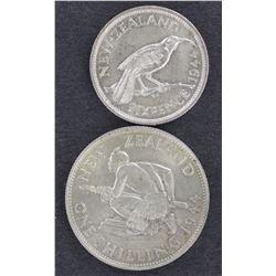 NZ Sixpence & Shilling 1944, Unc