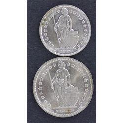 Swiss 1 Franc & 2 Franc 1961 Gem Unc