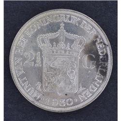 Netherlands 1930 & 1931 21/2 Guilder Unc