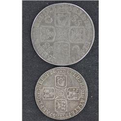 1757 Sixpence, 1723 SSC Company Shilling