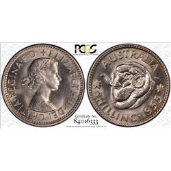 1955 Shilling MS 65