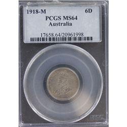 1918 Sixpence MS 64