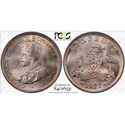 1927 Sixpence MS 65