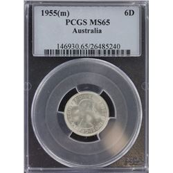 1955 Sixpence MS 65
