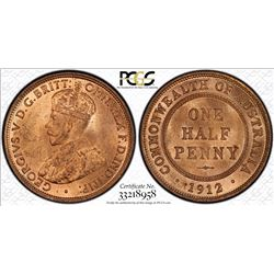 1912 Halfpenny MS 64 Red