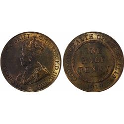 1919 Halfpenny MS 65 RB