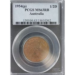 1954 Halfpenny MS 63 RB