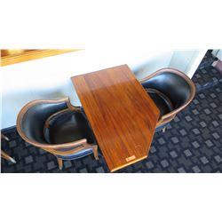 Koa Wood Table (29x46x28H) w/2 Upholstered Wood Chairs w/Metal Studs