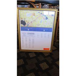 """Framed Souvenir Passenger List """"S.S. Monterey"""" 19"""" x 23"""""""