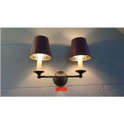 """Wall Light Fixture w/ 2 Lamp Shades 12""""L x """"11""""H"""