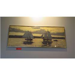 """Framed Art: Sailboats at Sunset - 37"""" x 14.5"""""""