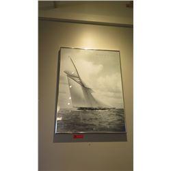 "Framed Print: Black & White ""Beken of Cowes"" Sailboats 24"" x 31.5"""