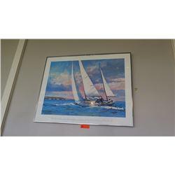 """Framed Poster: """"Off Newport Beach"""" - Robert Schaar  38"""" x """"30.5"""""""