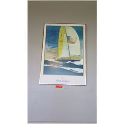 """Framed Art: """"Stars and Stripes"""" Sailboat with American Flag 23"""" x 33"""""""