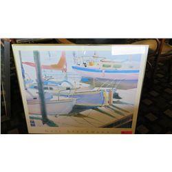 """Framed Art: Sailboats at Dock - Gail Specknann 34"""" x 28"""""""