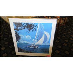 """Framed Art: South Pacific Sailing - Robert Schaar 31.5"""" x 32"""""""
