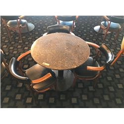 """Granite Round Table (24"""" dia, 28.5"""" H) w/3 Mid-Century Wood Chairs, Upholstered (granite chipped)"""
