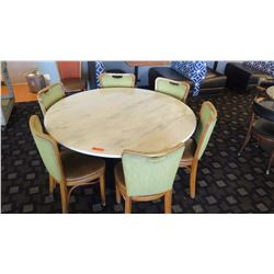 """Marble White Round Table (54"""" dia) w/7 Textured Green Threadback Chairs, Padded Seats"""