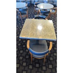 """Granite Square Table (35"""" dia, 28.5"""" H) w/2 Mid-Century Wood Chairs 29.5"""" H, Upholstered"""