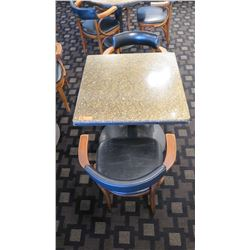 """Granite Square Table (29"""" dia, 28.5"""" H) w/2 Mid-Century Wood Chairs 29.5"""" H, Upholstered"""