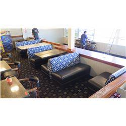 "Upholstered Booth Seating Set w/Blue Geometric Backrest -S(32""Lx""33""H), M(49""Lx""33""H), L(66""Lx""33""H)"